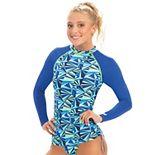 Women's Dolfin Uglies Women's Geometric Print Long Sleeve Rash Guard Swim Top