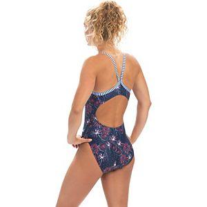 Plus Size Dolfin Uglies Firework-Print V-2 Racerback One-Piece Swimsuit