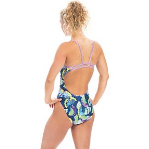 Women's Dolfin Uglies Fan-Print Double Strap One-Piece Swimsuit