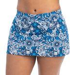 Women's Dolfin Aquashape Paisley Print A-Line Skirt Swim Bottoms with Tummy Slimmer