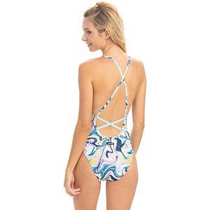 Plus Size Dolfin Uglies Wave Print X-Back One-Piece Swimsuit