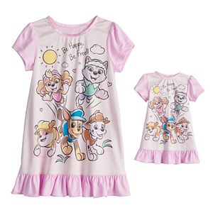 Toddler Girl Paw Patrol Night Gown & Doll Gown Set