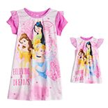 Disney Princess Toddler Girl Belle, Cinderella & Mulan Night Gown & Doll Gown Set
