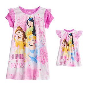 Disney Princess Toddler Girl Belle, Cinderella & Mulan Night Gown & Doll Gown Set