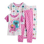 Toddler Girl Sesame Street Elmo & Cookie Monster Tops & Bottoms Pajama Set