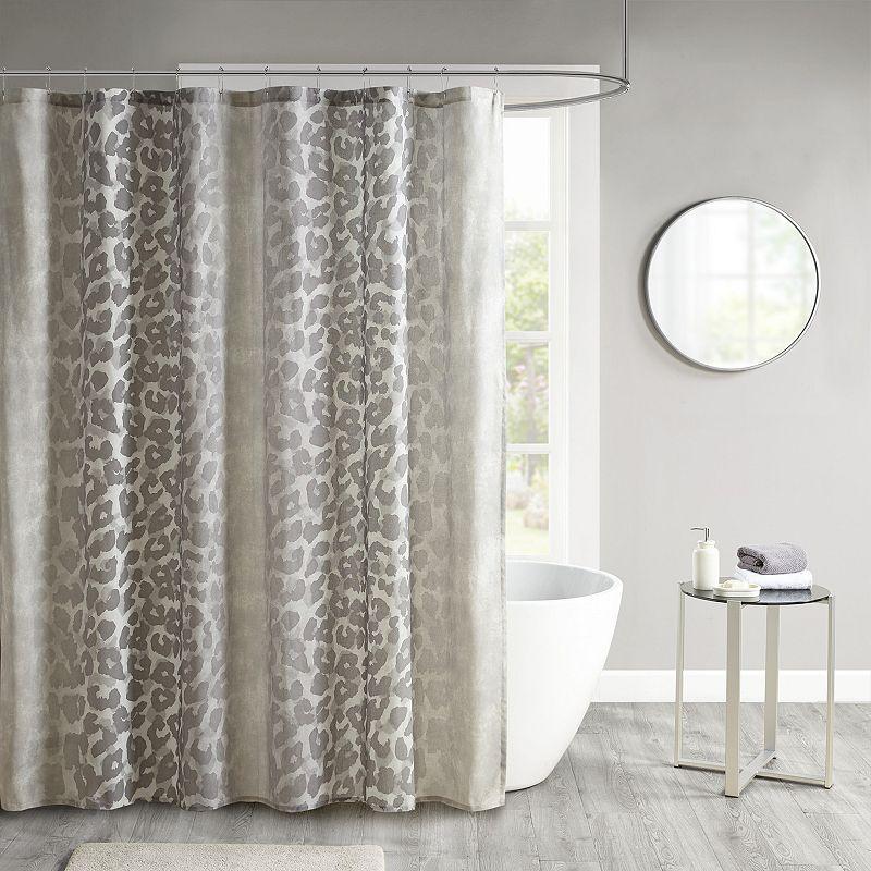 Madison Park Sable Cotton Gauze Printed Shower Curtain. Beig/Green. 72X72