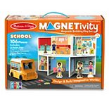 Melissa & Doug Magnetivity Magnetic Tiles Building Play Set - School with School Bus Vehicle