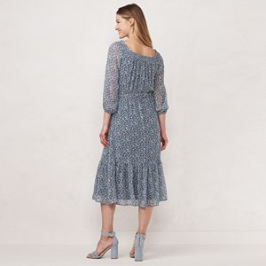 Petite LC Lauren Conrad Floral Off-the-Shoulder Midi Dress