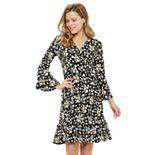 Petite ELLE? Print Bell-Sleeve Faux Wrap Dress