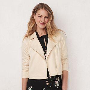 Petite LC Lauren Conrad Faux-Suede Moto Jacket