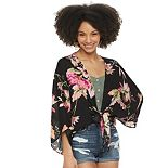 Juniors' SO® Floral Hibiscus Cropped Tie Front Kimono