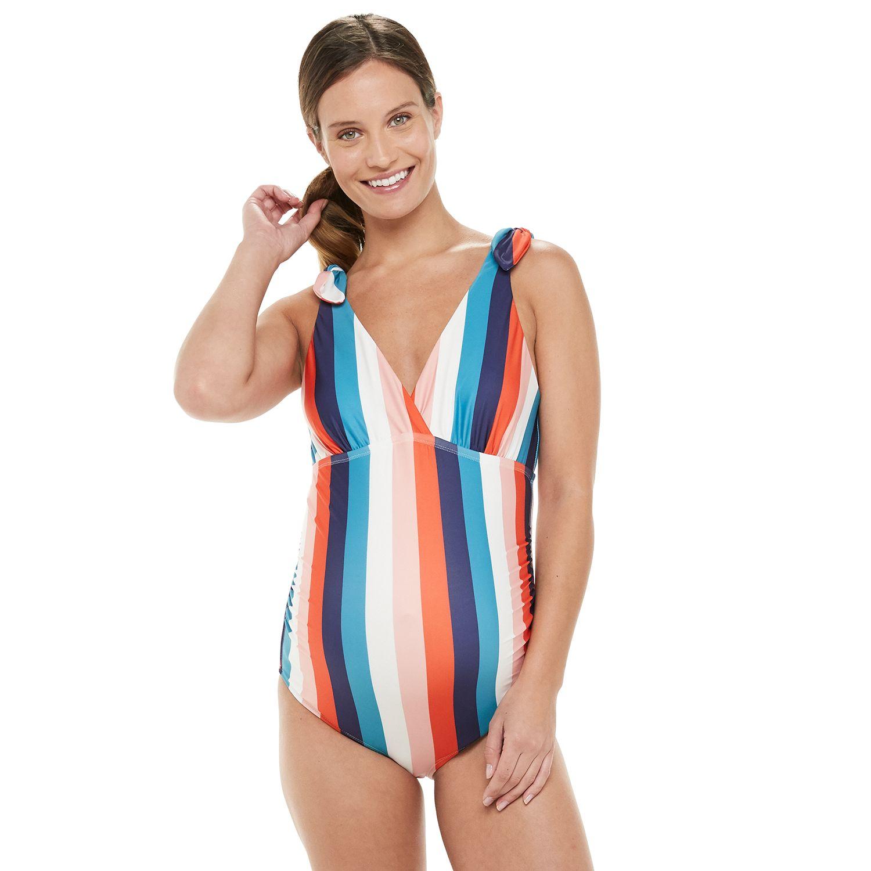 Maternity Beach Scene Striped One-Piece Swimsuit