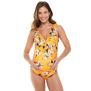 Maternity Beach Scene Ruffled One-Piece Swimsuit