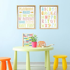 New View Gifts & Accessories Playroom Rules & Alphabet Wall Art 2-Piece Set