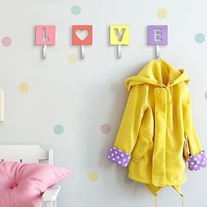 """New View Gifts & Accessories """"Love"""" Wall Hook 4-Piece Set"""