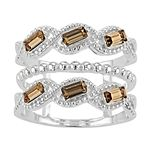Brilliance Baguette Cut Triple Row Ring with Swarovski Crystals