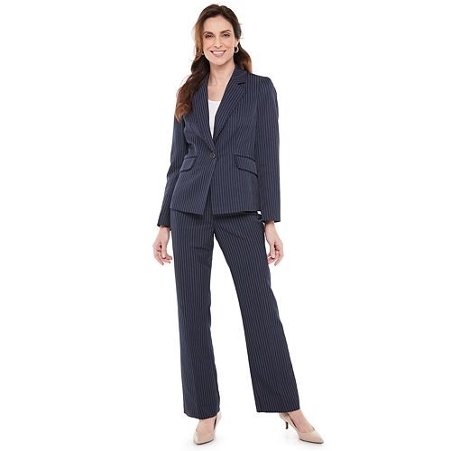 Le Suit Womens 3 Button Notch Collar Stripe Pant Suit