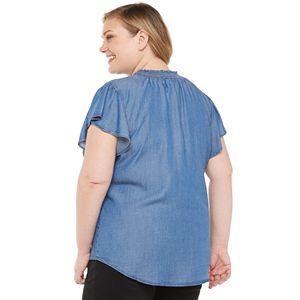 Plus Size EVRI Flutter Sleeves Smocked Neck Top