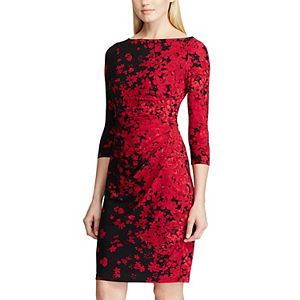 Women's Chaps Scattered Floral Draped Sheath Dress