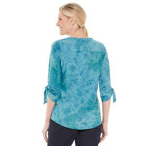 Petite Croft & Barrow® Print Roll-Tab Sleeve Top