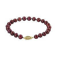 14k Gold Cranberry-Dyed Freshwater Cultured Pearl Bracelet