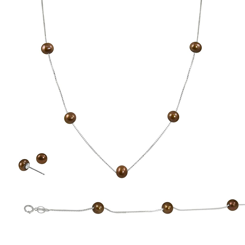 Sterling Silver Chocolate-Dyed Freshwater Cultured Pearl Necklace, Bracelet & Earring Set