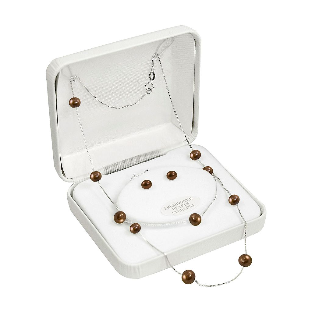 Sterling Silver Chocolate-Dyed Freshwater Cultured Pearl Necklace, Bracelet and Earring Set
