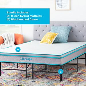 Linenspa Signature 8-in. Hybrid Medium-Firm Mattress & Platform Base
