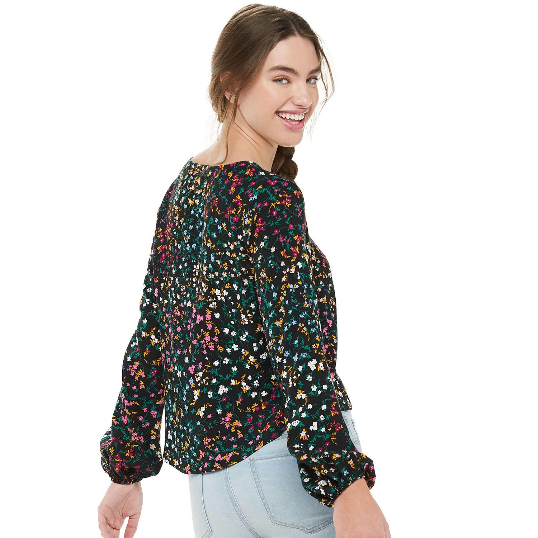 Juniors' Love, Fire Long Sleeve Button Front Shirt
