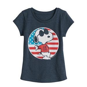 Family Fun Toddler Girl Peanuts Snoopy Patriotic Joe Cool Graphic Tee