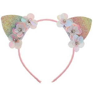 Girls Elli by Capelli Ribbon Cat Ears and Flowers Headband