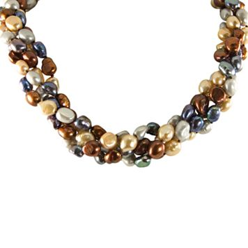 Sterling Silver Dyed Freshwater Cultured Pearl Twist Multistrand Necklace