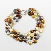Sterling Silver Dyed Multicolor Freshwater Cultured Pearl Bracelet