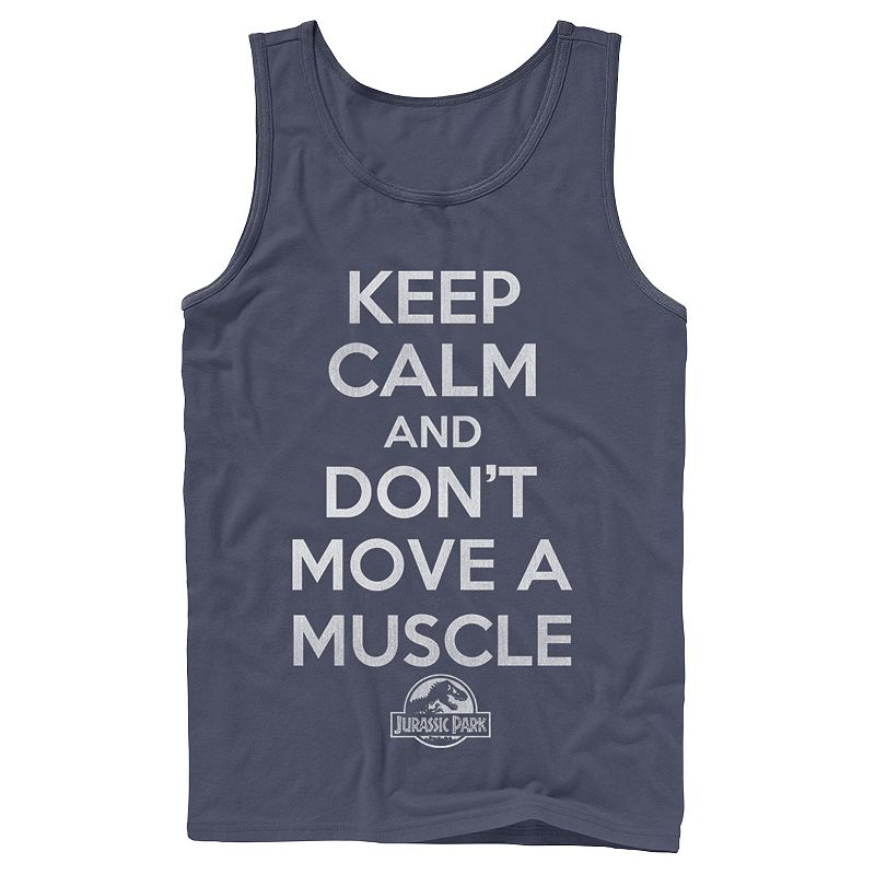 """Men's Jurassic Park """"Don't Move a Muscle"""" Tank Top. Size: Small. Blue"""