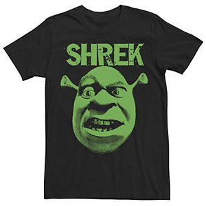 Men's Shrek Grumpy Green Comic Art Face Graphic Tee