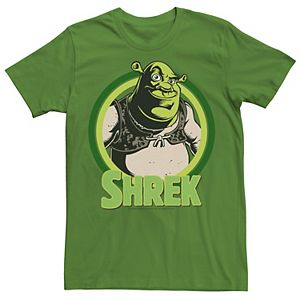 Men's Shrek In Circles Cartoon Portrait Logo Graphic Tee
