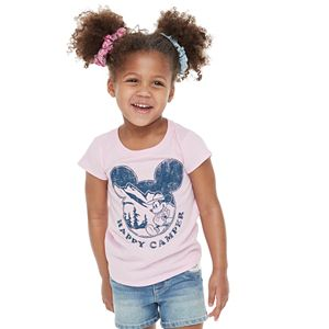 """Disney Mickey Mouse Toddler Girl Earth Day """"Happy Camper"""" Graphic Tee by Family Fun?"""