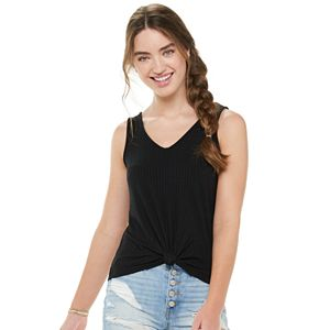 Juniors' Mudd Double V-Neck Tank Top