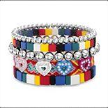 Women's Madden Girl Heart & Beaded Stacking Friendship Bracelet Set