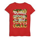 Girls' 7-16 Shrek Dashing Through The Mud Holiday Pattern Tee
