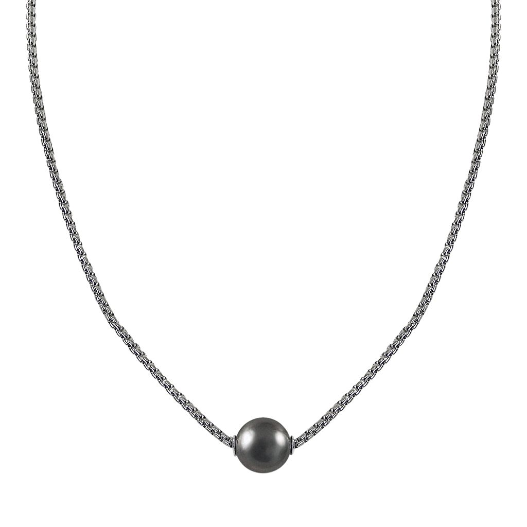 Sterling Silver Tahitian Cultured Pearl Necklace