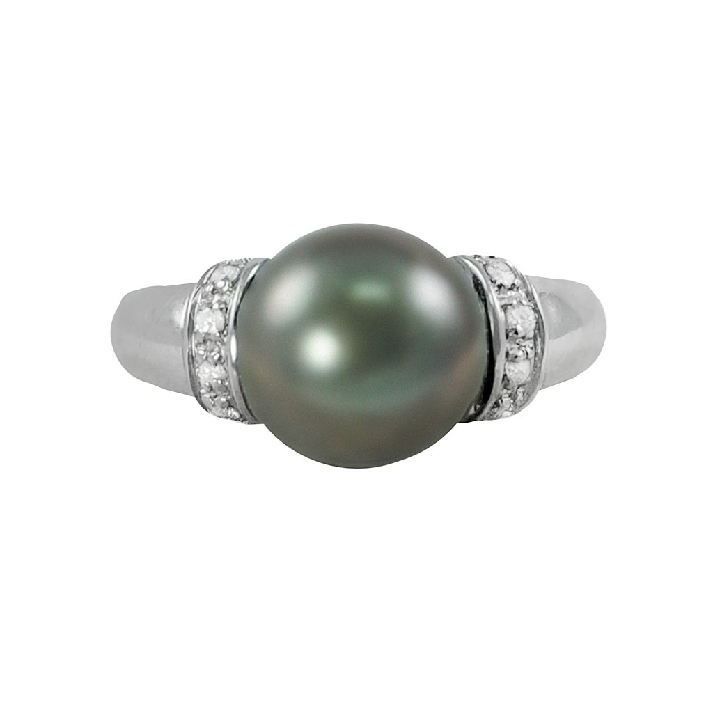 Sterling Silver Tahitian Cultured Pearl & White Topaz Ring