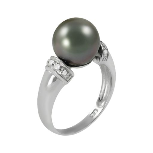 Sterling Silver Tahitian Cultured Pearl and White Topaz Ring