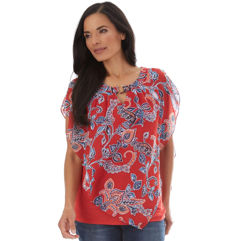 Women's Apt. 9® Print Split-Shoulder Top