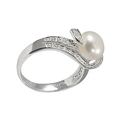 Sterling Silver Freshwater Cultured Pearl & White Topaz Ring