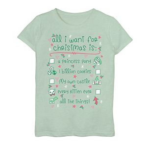 """Girls 7-16 """"All I Want For Christmas List"""" Graphic Tee"""