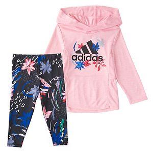 Baby Girl adidas Melange Hooded Top & Printed Leggings Set