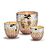 Mosaic Glass Candleholder 3-Piece Set