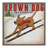Amanti Art Brown Dog Ski Co Framed Canvas Print