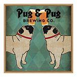 "Amanti Art ""Pug & Pug Brewing Co"" Framed Canvas Wall Art"
